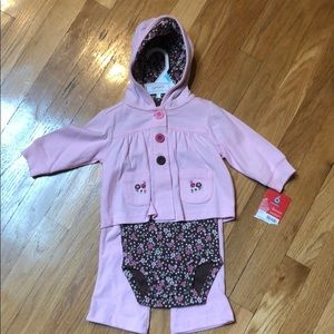 Carter's baby girl brand new pink brown 3pc outfit